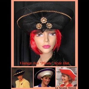 "Vintage 80s ""Pirate"" Style Black Hat"
